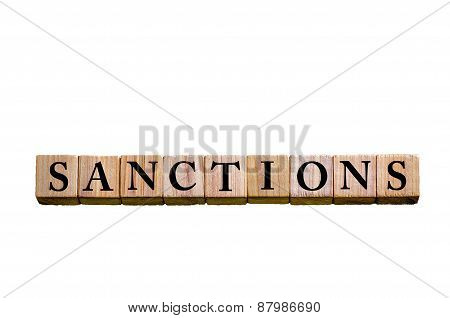 Word Sanctions Isolated On White Background