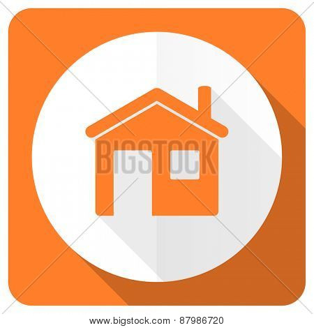 house orange flat icon home sign
