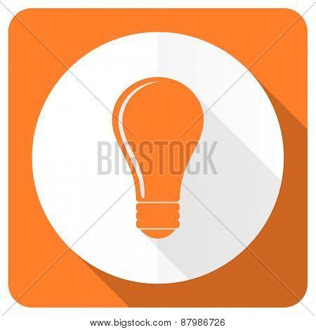 bulb orange flat icon idea sign