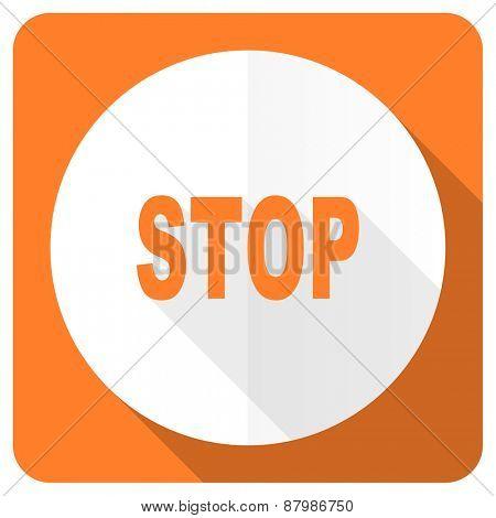 stop orange flat icon