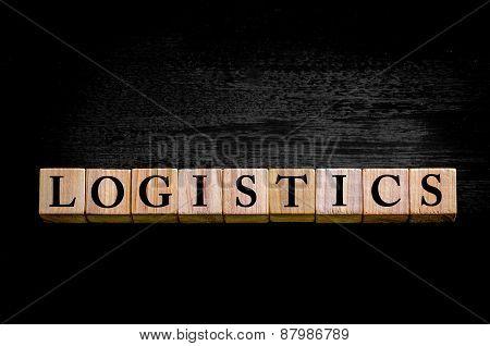 Word Logistics Isolated On Black Background