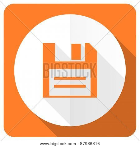 disk orange flat icon data sign