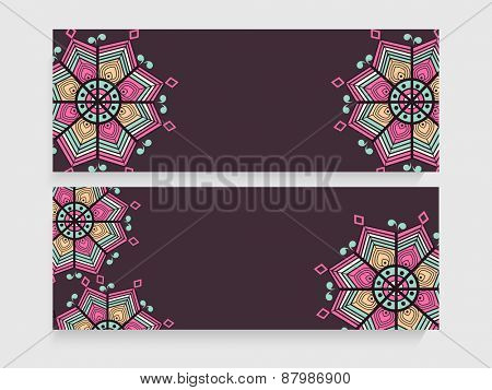 Traditional floral design decorated blank website header or banner set for business purpose.