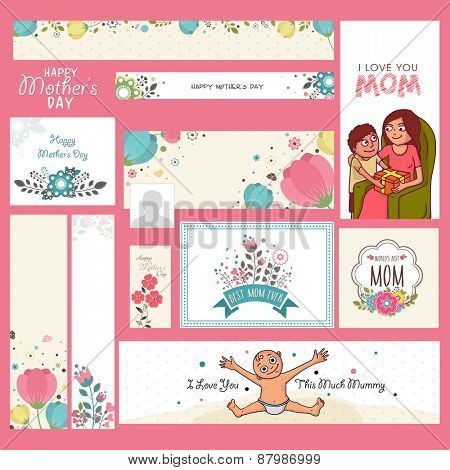 Social media and marketing header, banner or cards for Happy Mother's Day celebration.