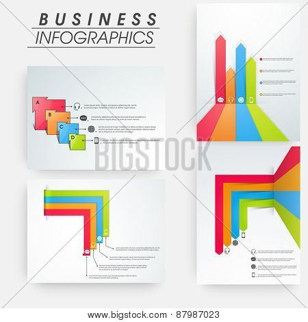 Set of business infographic colorful layout for print, publishing and presentation.