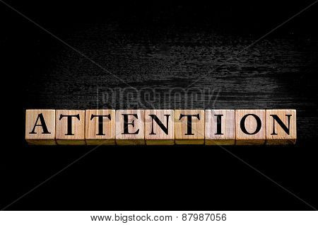 Word Attention Isolated On Black Background