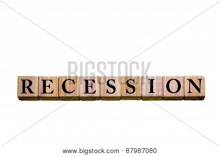 Word Recession Isolated On White Background