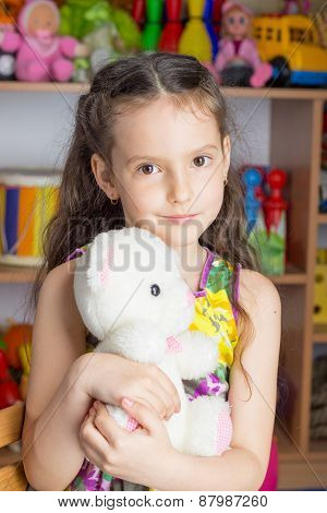 Girl 6 Years Brunette, Colorful Dress, Toy White Bear