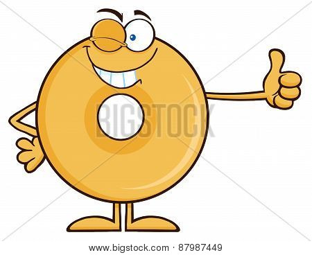 Winking Donut Cartoon Character Giving A Thumb Up