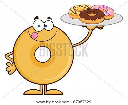 Donut Cartoon Character Serving Donuts