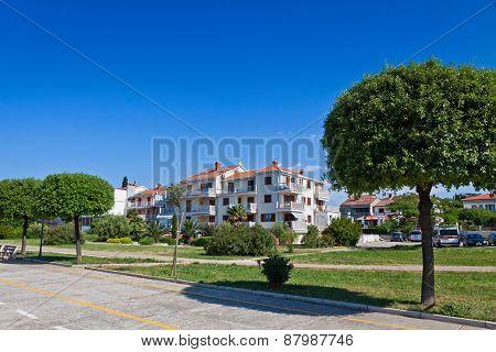 Promenade Street In Umag City, Istria, Croatia