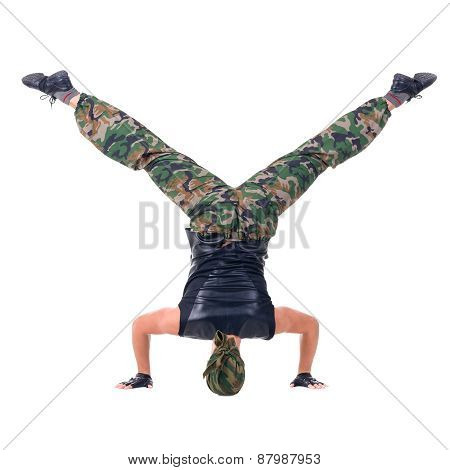 dancer dressed soldier jumping