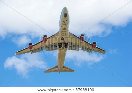 Manchester, United Kingdom - April 11, 2015: Boeing 747 Virgin Atlantic Just Taken Off From Manchest
