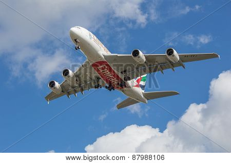 Manchester, United Kingdom - April 11, 2015: Airbus A380 Emirates On Approach To Manchester Airport