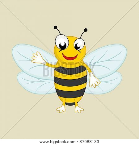 Cartoon of a happy honey bee.
