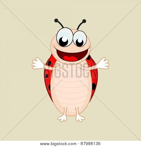 Character of laughing bee extending his arms on beige background.