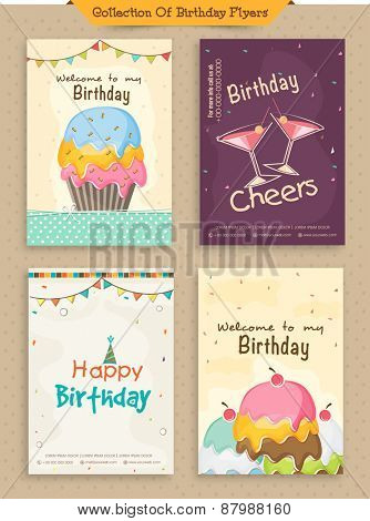 Collection of Birthday Invitations Cards decorated with colorful cakes and buntings.