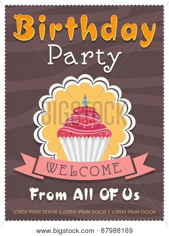 Vintage invitation card design for Birthday Party celebration decorated with cupcake.