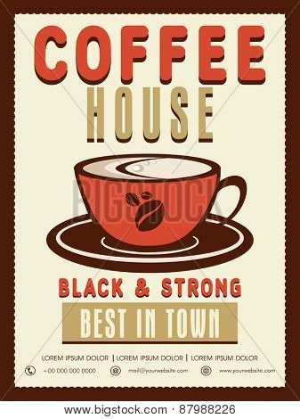 Stylish vintage menu card design for black and strong coffee.