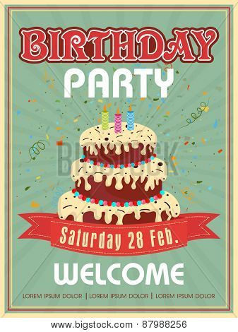Vintage invitation card design for Birthday Party celebration decorated with big birthday cake.