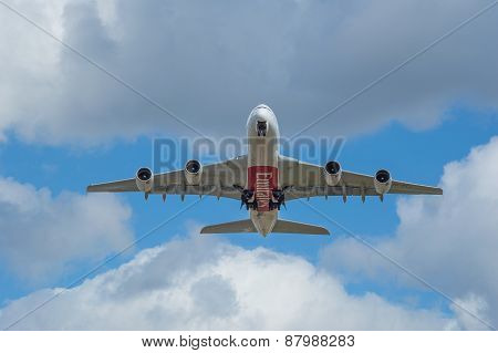 Manchester, United Kingdom - April 11, 2015: Airbus A380 Emirates Just Taken Off From Manchester Air