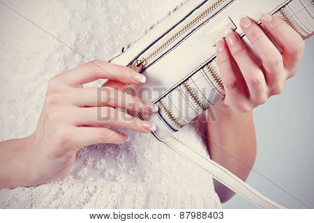 Beautifu Female Hands With Manicure With Small Handbag