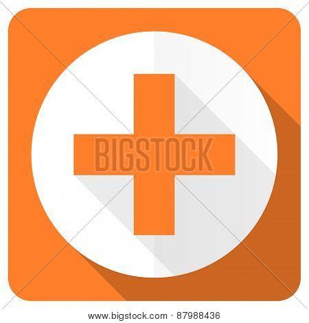 plus orange flat icon cross sign