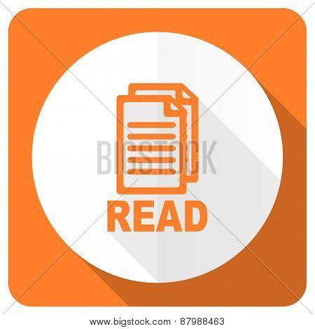 read orange flat icon