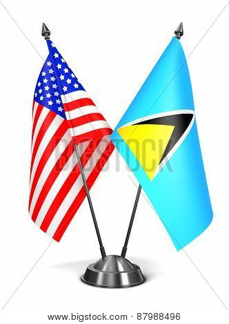 USA and Saint Lucia - Miniature Flags.