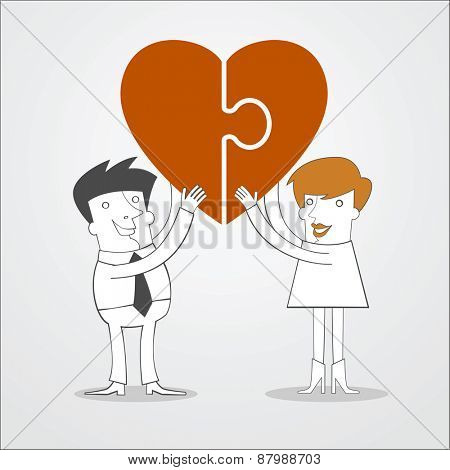 Man and woman hold puzzle in the form of heart in his hand. Love concept