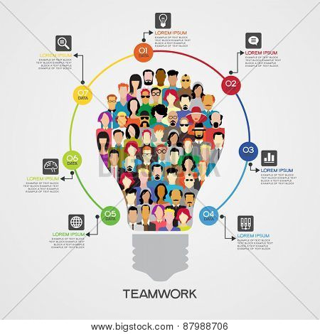 Teamwork infographics background. Icons of people in the form of a light bulb surrounded interface icons, text, numbers. File is saved in AI10 EPS version. This illustration contains a transparency