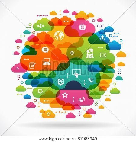 Vector background. Social media concept. Communication in the global computer networks. Set of flat design concept icons for web and mobile services. File is saved in AI10 EPS version.