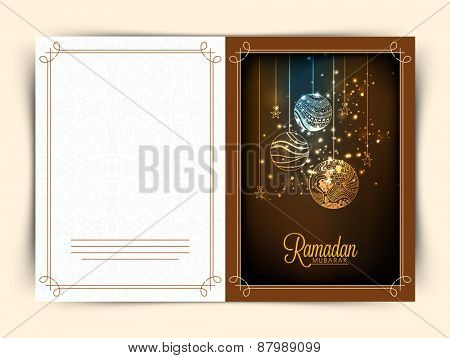 Beautiful greeting card design with floral decorated balls and stars for Islamic holy month of prayers, Ramadan Kareem celebrations.