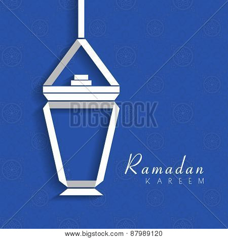 Creative illustration of hanging arabic lantern or lamp on blue seamless background for holy month of muslim community, Ramadan Kareem celebration.