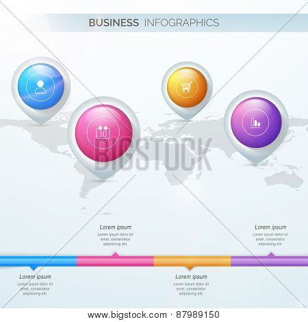 Business infographics template with 3D navigation pins on world map for professional presentation.