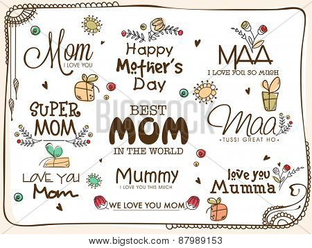 Stylish typographic collection for Happy Mother's Day celebration.
