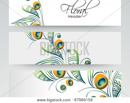 Floral decorated banner or website header set with free space for your text.
