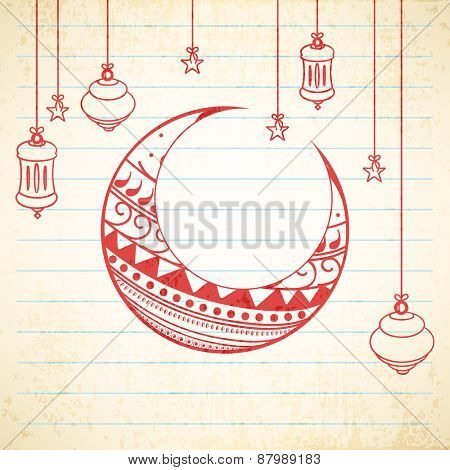 Floral design decorated moon with hanging Arabic lamps and stars on notebook paper background for holy month of Muslim community Ramadan Kareem celebration.