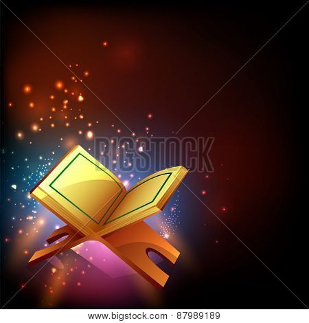 Islamic holy month of prayers, Ramadan Kareem celebrations with open golden pages islamic religious book Quran Shareef on colourful shiny background.