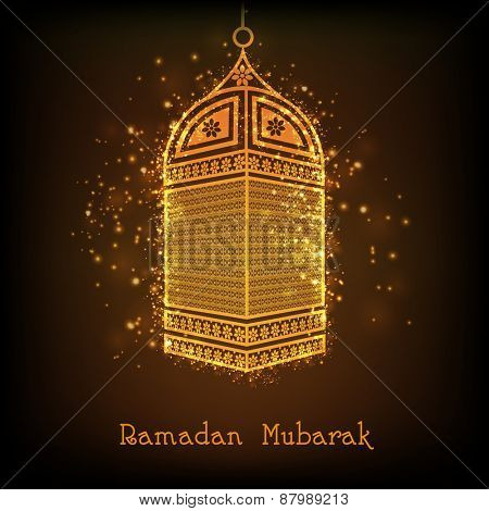 Beautiful golden arabic lantern on shiny brown background for Islamic holy month of Prayers, Ramadan Kareem celebrations.