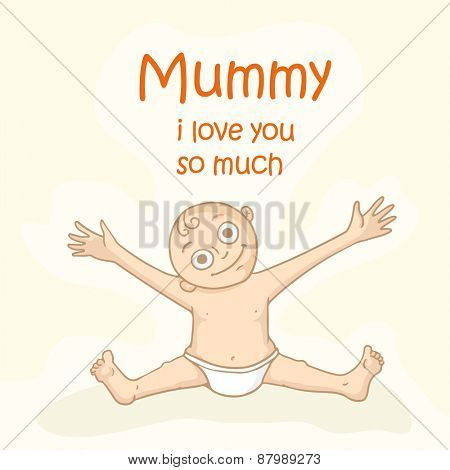 Cute little boy opening his arms and saying Mummy I Love You So Much on occasion of Happy Mother's Day.