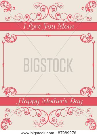 Beautiful floral design decorated greeting or invitation card design with space for your message for Happy Mother's Day celebration.