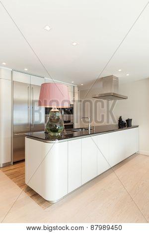 Interior, beautiful modern apartment, comfortable kitchen