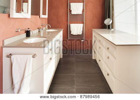Interior, beautiful modern apartment, comfortable bathroom