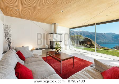 mountain house, modern architecture, interior, living room