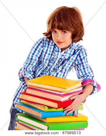 Child female with stack of books. Isolated.