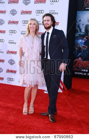 LOS ANGELES - FEB 13:  Sam Taylor-Johnson, Aaron Taylor-Johnson at the