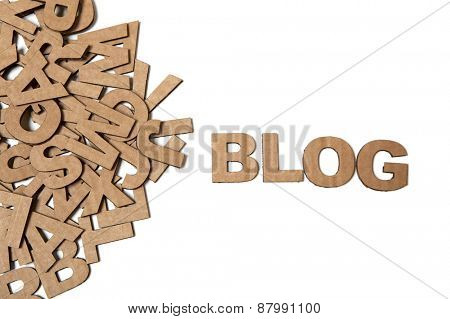 Recycling paper letters forming word Blog, isolated on a white background