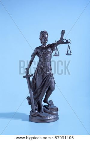 Symbol Justice.  Lady of Justice. Blue Light