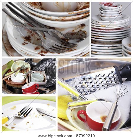 Collage of dirty dishes